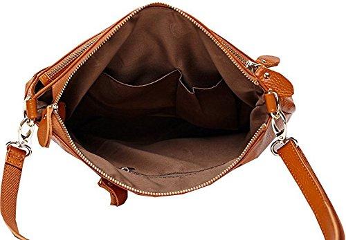 della della borsa a pelle traversa della corpo cuoio Borsa della bovina Rosa del tracolla molle signora del qvSvw