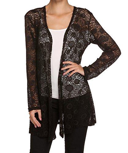 Lantusi Women Sexy Lace Hollow Mesh Sheer Cardigan Long Sleeve Blouse Coat Lace Sheer Coat