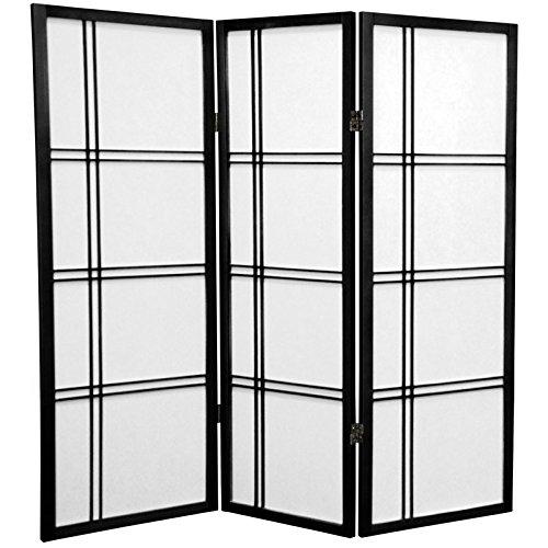 ORIENTAL FURNITURE 4 ft. Tall Double Cross Shoji Screen - Black - 3 Panels ()