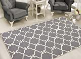 Sweet Home Stores Clifton Collection Light Grey Moroccan Trellis Design (7'10''X9'10'') Felt Area Rug