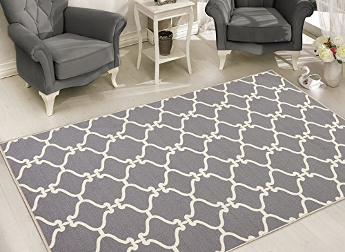 Sweet Home Stores Clifton Collection Light Grey Moroccan Trellis Design (7'10''X9'10'') Felt Area Rug by Sweet Home Stores