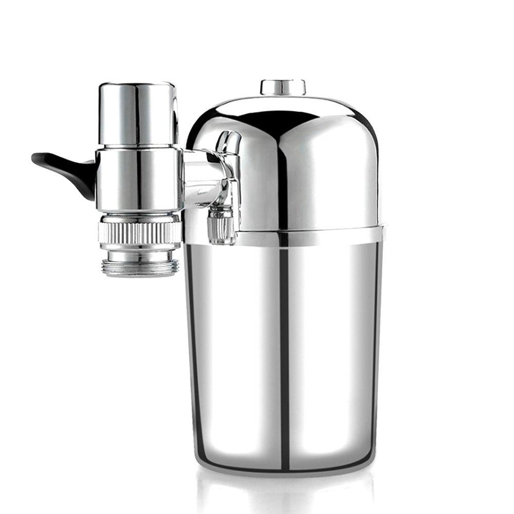 Advanced Faucet Water Filter with a Filter Element, Electroplating,Double Outlet and Level 1 Filtration, No-Cracking No-Leakage Fast Flow Household Water Filter Fits Standard Faucets Easy Install