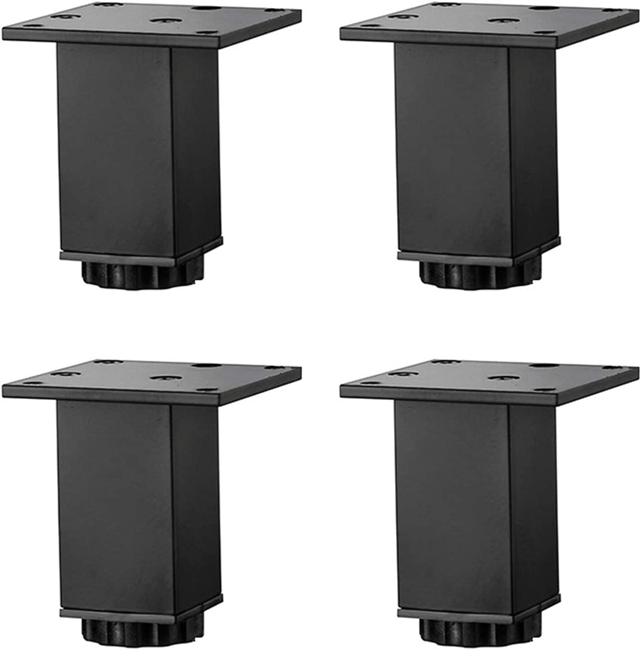 Metal Furniture Feet Square Table Legs Aluminum Alloy Made Kitchen Wardrobe Feet Sofa Support Foot Coffee Table TV Stand Legs Bathroom Cabinet Replacement Legs, with Screws,4 Pcs,B