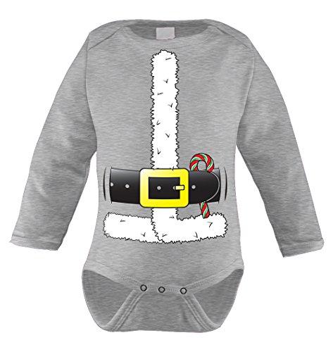 Costume Baby Dreidel (Santa Claus Costume Infant Long Sleeve Bodysuit (Light Gray, 12)