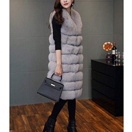' lungo di pelliccia inverno cappotto caldo stile Lightgray FOLOBE Faux Vest Womens AwvS5qxg