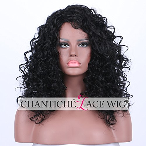 Wigs Free Shipping Cheap (Chantiche Cheap Women's Curly Wigs - Realistic Looking Glueless Synthetic Black Wigs Medium Length Fiber Hair (with Free Wig)