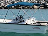 Stainless Steel Bimini w/Support Poles, Boot & Sunbrella Fabric 6' x 46'' x 73-78''- Pacific Blue