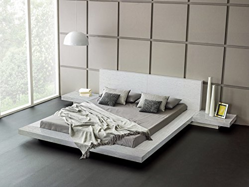 - Fujian Platform Bed + 2 Night Stands King (Ash White)