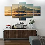 Large Canvas Wall Art 5 Panel Modern Painting And Prints Fuji Mountain Peaceful Lake Landscape Japanese Picture Set No Frame(30x40cmx2 30x60cmx2 30x80cmx1 5pieces/set)