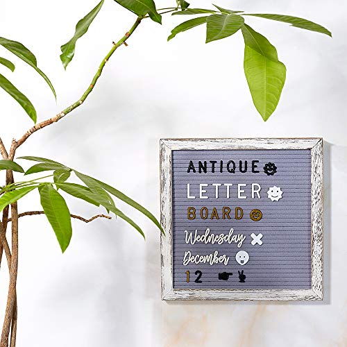 Tukuos Rustic Felt Letter Board, 752 Black & Gold & White Letters, Months & Days Cursive Words with 10x10 Inch Weathered Antique Frame, Large & Medium Letters,Double Sided by Tukuos (Image #4)