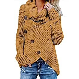 BLENCOT Women's Casual Cowl Neck Asymmetric Button Wrap Hem Pullover Sweater Jumper