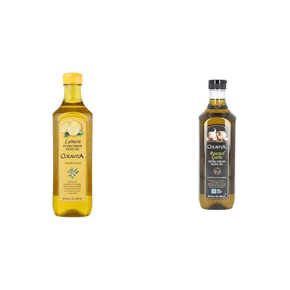 Colavita Lemon Extra Virgin Olive Oil, 32 oz & Roasted Garlic Extra Virgin Olive Oil, Low FODMAP, 32 Fl Oz (Pack of 1)