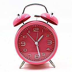 EIALA 4 Retro Vintage Twin Bell Bedside Alarm Clock Simple Quiet Non-ticking Silent Quartz Analog Alarm Clock with Loud Alarm and Night Light (Pink)