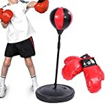 Adjustable Height Freestanding Reflex Punching Bag Ball Boxing Speed Bag With Charge Air Pump and Gloves