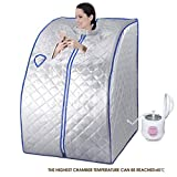 KUPPET 2L Portable Folding Steam Sauna-One Person Home Sauna Spa For Full Body Slimming Loss Weight w/Chair, Remote Control, Steam Pot, Foot Rest, Mat(Silver)