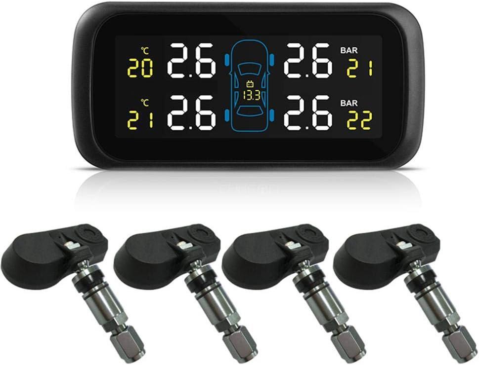 ATpart Auto TPMS Solar Reifendruckkontrollsysteme Auto Zigarettenanz/ünder Interne Diebstahlschutzsensoren Auto Reifendruck Monitor Echtzeit Hochgenaue Erkennung