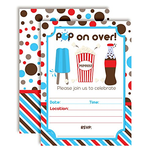 Popcorn Party Invitations - Pop On Over Soda and Popcorn Birthday Party Invitations, 20 5