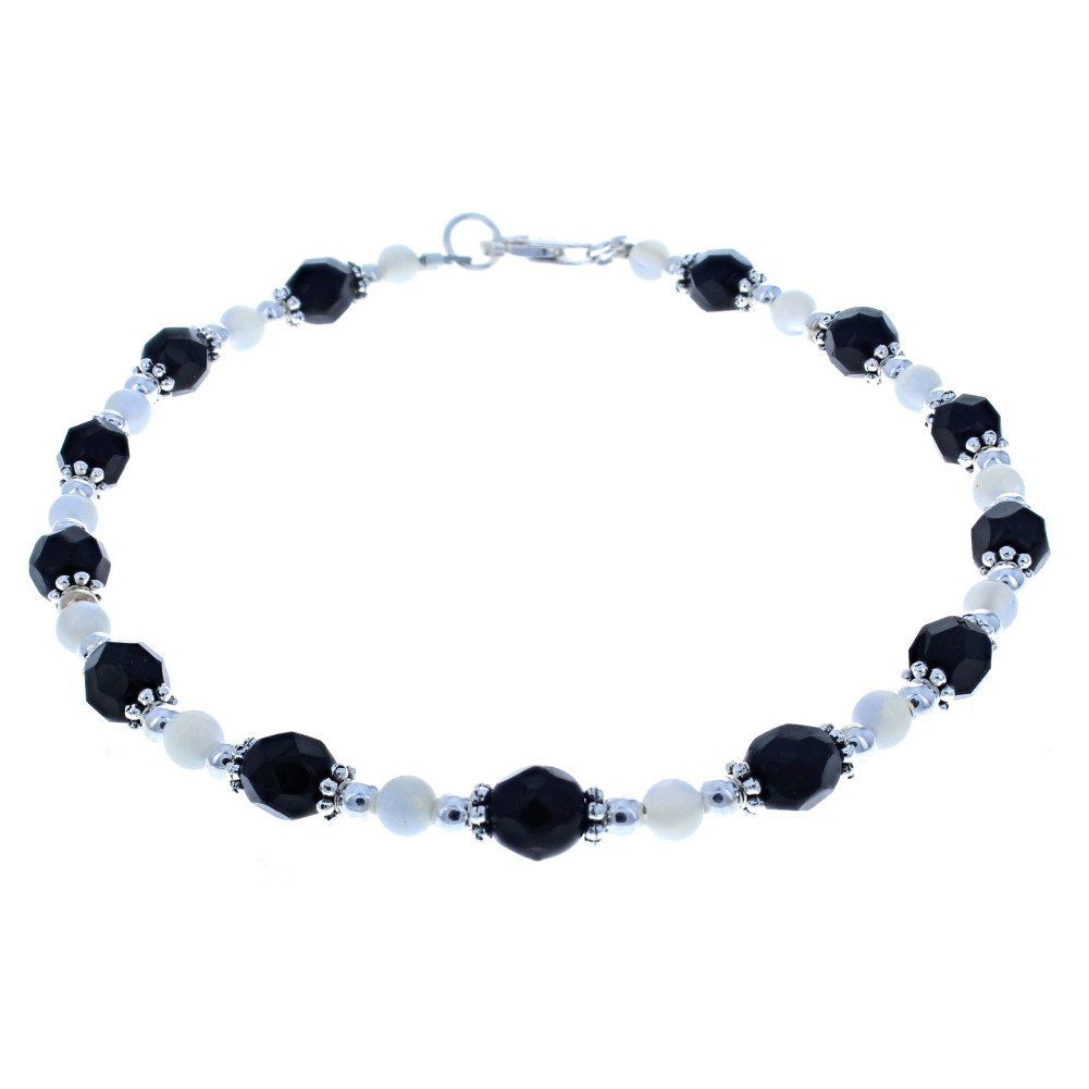 Timeless-Treasures Womens Black Czech Fire Polished Glass, Mother of Pearl & Sterling Silver Beaded Anklet with Daisies - 12''