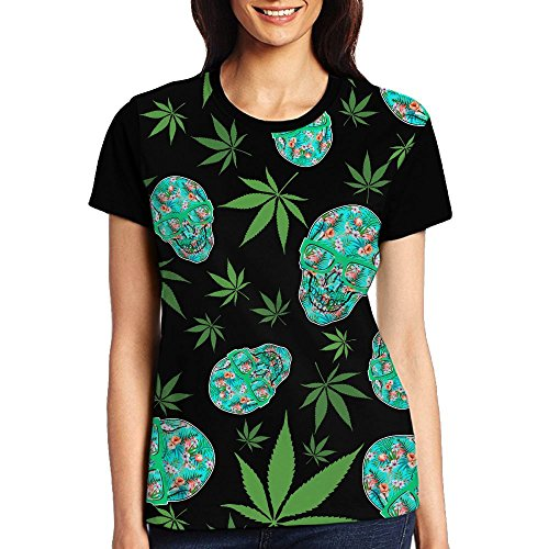 Skull Flamingo Plants Weed Cannabis Women's Fashion Pullover Short Sleeve Graphic Tops Tees T-Shirt S