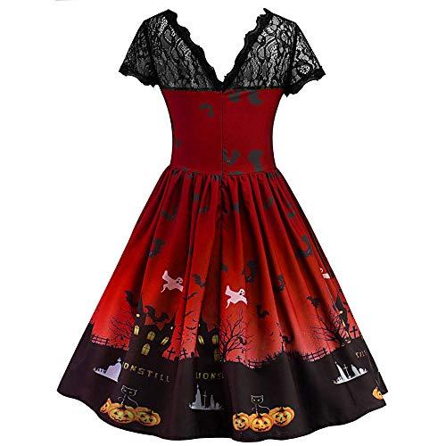 Geetobby Women Short Sleeve Halloween Retro Lace Dress A Line Pumpkin Swing Gown by Geetobby Women Dress (Image #2)