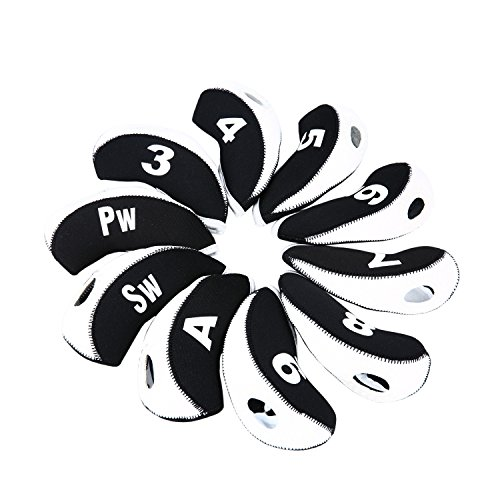 Sword &Shield sports 10pcs/set Golf Iron Club Head Covers with Numbers Neoprene Top Window Iron Covers(White&Black)