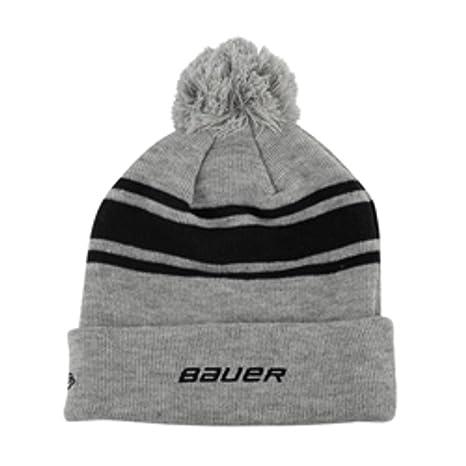 99cebeb6ee7 Amazon.com  Bauer New Era Team Striped Pom Pom Knit Hat - Black  Sports    Outdoors