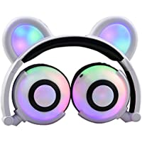 iGeeKid Kids Headphones Bear Ear Style Headset with LED USB Rechargeable Wired Foldable Waterproof Over Ear Gaming Headsets for Girls,Kids,Boys,Compatible for iPad,iphone,Android,Computer (000White)