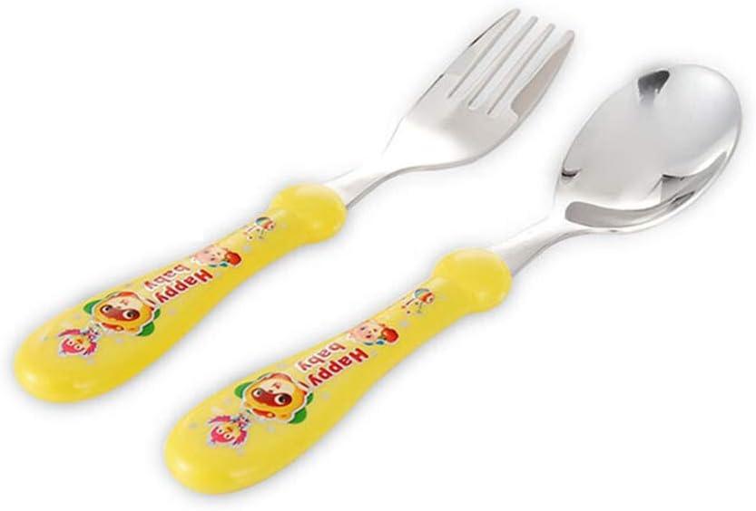 Ogquaton /2pcs ensemble belle ours imprimer b/éb/é enfants alimentation cuill/ère fourchette en acier inoxydable jaune nouveau publi/é