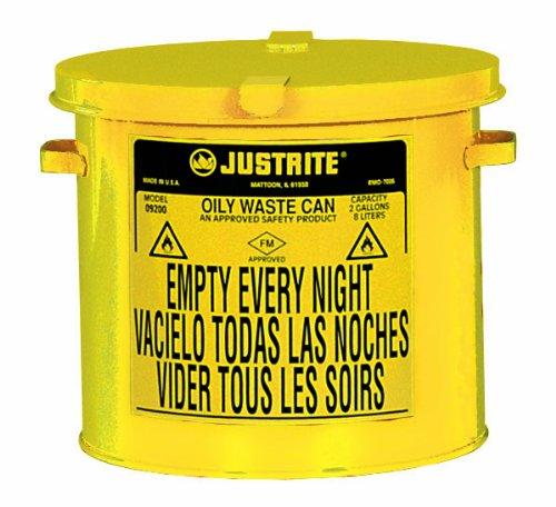 Justrite 09200Y Galvanized Steel Countertop Oily Waste Can, 2 Gallon Capacity, Yellow -