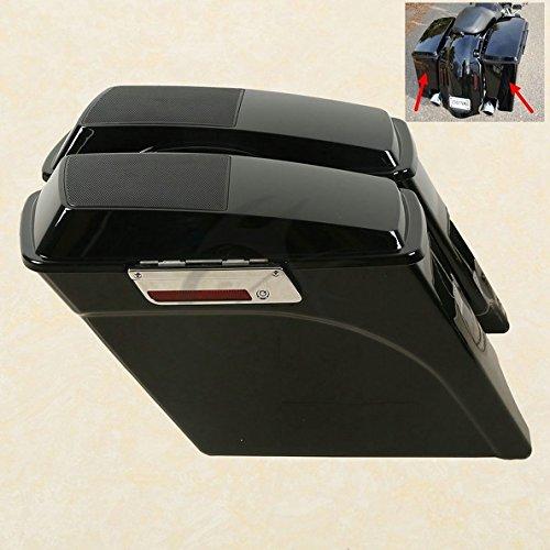 TCMT Vivid Black 5'' Stretched Saddlebags 6X9'' Speaker Lid Fits For Harley Road King Street Glide 1993-2013