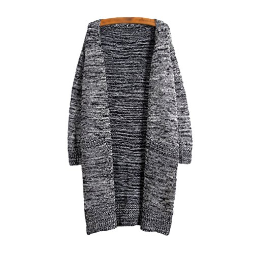 Veste Manche Femmes Pull a Top Gris Gilets Maille YOUJIA Cardigan Pullover Tricot en Fonc Sweater Longue Chandail Jacket 6nRwg