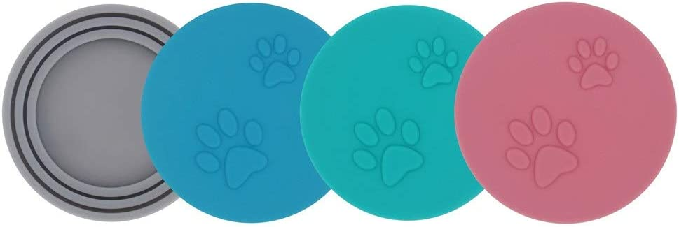 SLSON 4 Pack Pet Food Can Cover Set,Universal Silicone Cat Dog Food Can Lids 1 Fit 3 Standard Size Can Tops Covers