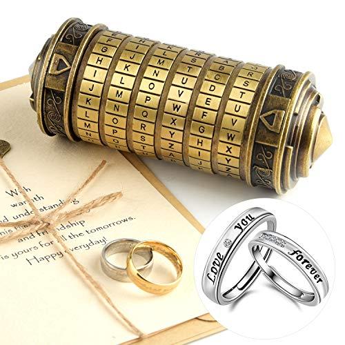 TUPARKA Da Vinci Code Mini Cryptex Valentine's Day Interesting Creative Romantic Birthday Gifts for Her,Bronze (Valentines Cards Birthday)