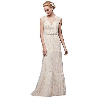David\'s Bridal Chantilly Lace Cap-Sleeve Sheath Wedding Dress Style ...