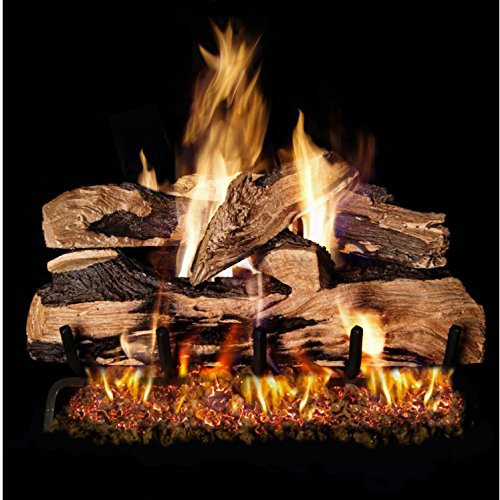 Peterson Real Fyre 24-inch Split Oak Designer Plus Gas Log Set With Vented Natural Gas Ansi Certified G46 Burner - Manual Safety Pilot (Propane Vented Oak Red)