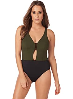 Amoressa Women s Swimwear Eclipse Ursa V-Neck One Piece Swimsuit with Soft  Cup Bra and 5eb40d905