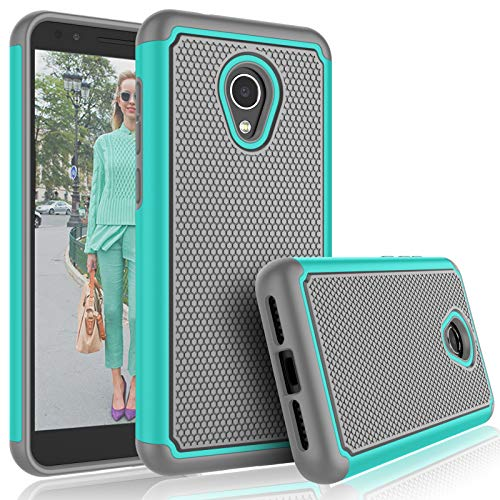 Tekcoo for Alcatel 1X Evolve Case, for Alcatel IdealXTRA/Alcatel TCL LX Cute Case, [Tmajor] Shock Absorbing Rubber Silicone & Plastic Bumper Grip Rugged Sturdy Hard Phone Cases Cover [Turquoise]