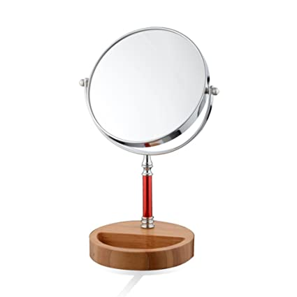 Beautiful LE Makeup Vanity Mirror,7 Inch Table Mirror With Stand Wooden Base 1X/3X