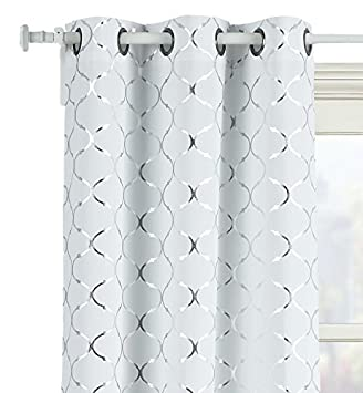 GoodGram 2 Pack Lattice Metallic Foil Ultra Luxurious Grommet Top Curtains – Assorted Colors Sizes 84 in. Long, Silver