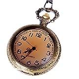 Pocket Watch Open Face Bronze Tone Case Quartz Movement with Chain Half Hunter Steampunk Design PW-29
