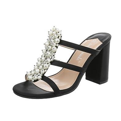 Ital Design Pantoletten Damenschuhe Pump High Heels Sandalen  Sandaletten
