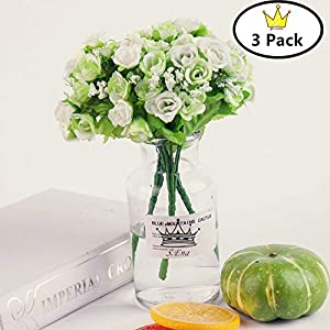 S.Ena, 7 Branch 21 Heads Artificial Silk Fake Flowers Leaf Little Rose Wedding Floral Home Decor Bouquet Birthday Party DIY, Pack of 3 (White) 20