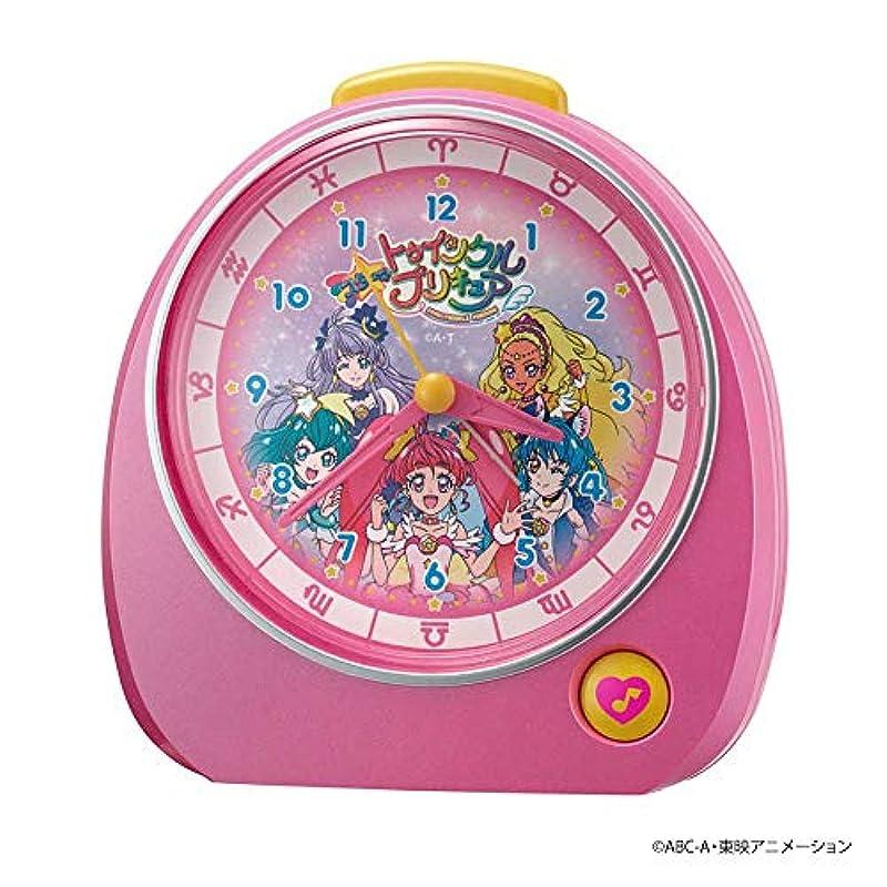 리듬 시계 공업(Rhythm) 탁상시계 핑크 13.2x13.7x8.4cm 자명종 스타☆트윙클 프리큐어 4ZM606AY13