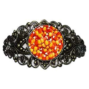 Chicforest Bronze Retro Style Halloween candy corn Flower Cuff Bracelet