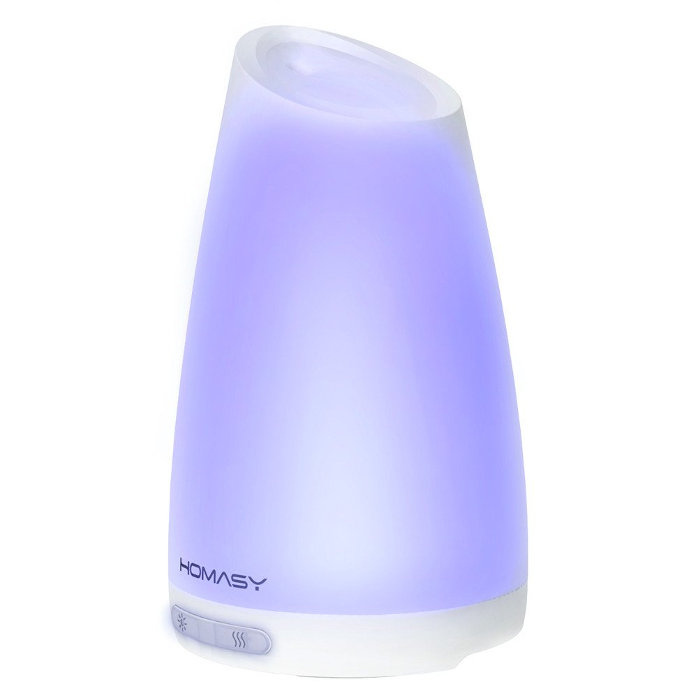 Homasy 100ml Essential Oil Diffuser Humidifier, Aromatherapy Diffuser with 7 Color Lights,4-6 Hours Working Time for Home, Office, Bedroom, Yoga Room
