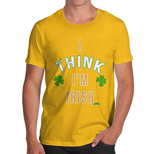 (TWISTED ENVY Funny T-Shirts For Guys ST Patricks Day I Think I'm Irish Men's T-Shirt X-Large Yellow)