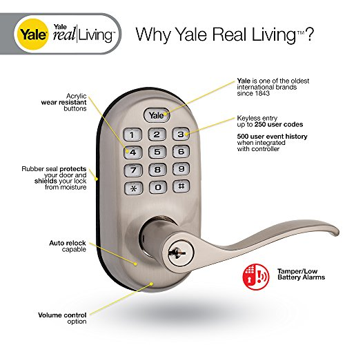 Yale Real Living Keyless Push Button Z Wave Lever Lock