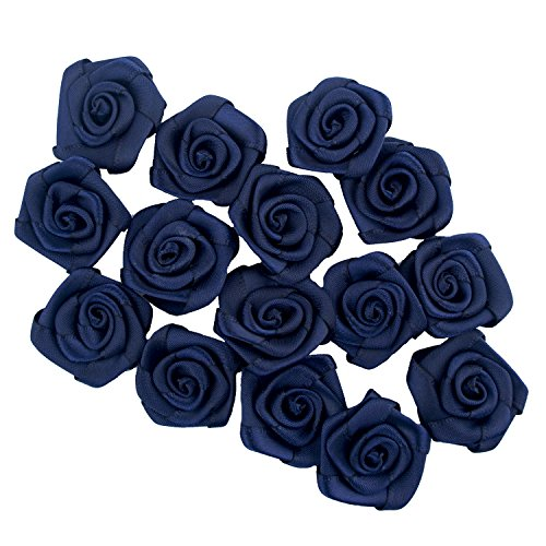 HAND Midnight Blue Large Pretty Rose Ribbon Trims for Clothing, Accessory and Soft Furnishings Embellishment - 28 mm - Pack of 15