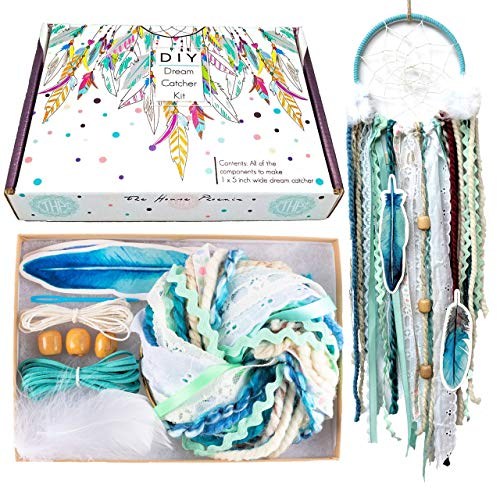 DIY Dream Catcher Kit Blue Arts and Crafts Kits Make Your Own Dreamcatcher Valentine's Day Gift for Kids from The House Phoenix