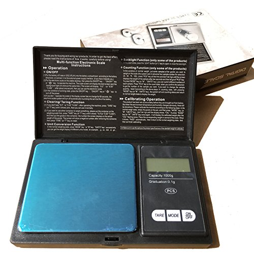 Digital Pocket Scale 100 x 0.01g, 200 x 0.01g, 500 x 0.1g, 1000 x 0.1g with Back-lit LCD Display, Mini Digital Weighing Scale for Jewelry Coins Reload and Kitchen Scale (200 x 0.01g) (200g Weight)